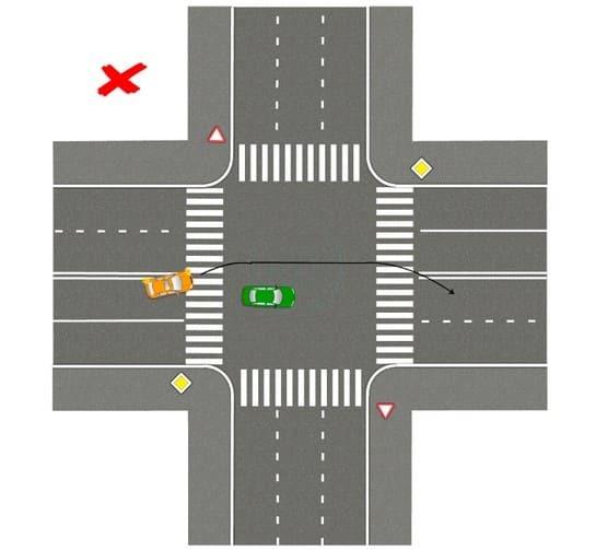 Обгон на перекрестке по главной дороге вне населенного пункта в 2020 - штраф, с разметкой