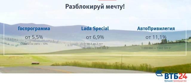 Процентные ставки по автокредиту (кредиту на авто) в ВТБ 24 в 2020 году